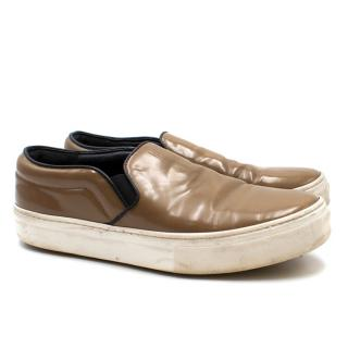 Celine Brown Leather Slip On Trainers