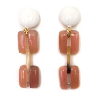 Marni Pink Clip On Drop Earrings
