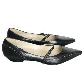Dior black pointed-toe ballet flats