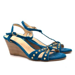 Zadig & Voltaire Blue Suede Studded Wedges