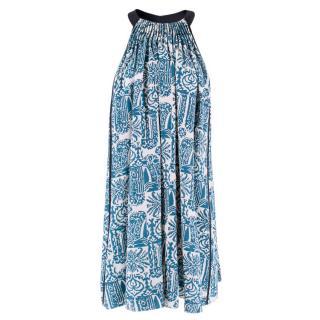 Maiyet Blue and White Printed Silk Halterneck Dress