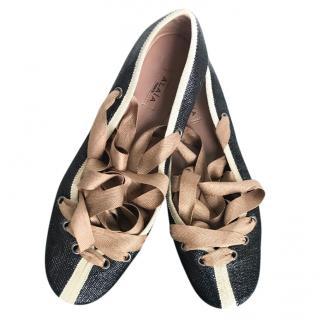 Alaia Metallic Ribbon Tie Ballet Flats