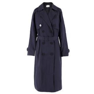 Claudie Pierlot Navy Cotton-Blend Lightweight Trench Coat