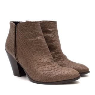 Giuseppe Zanotti Brown Snakeskin Embossed Ankle Boots