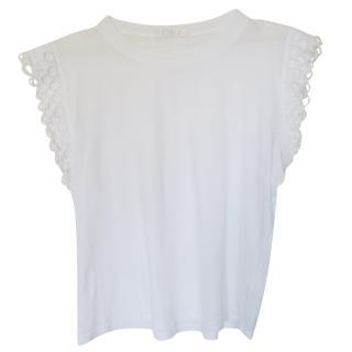 Chloe white macrame sleeve top