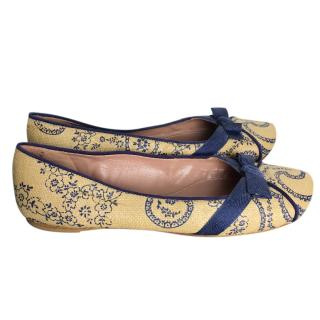 Alaia Yellow Printed Ballet Flats