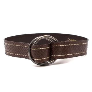Yves Saint Laurent Brown Double Ring Snakeskin Leather Belt