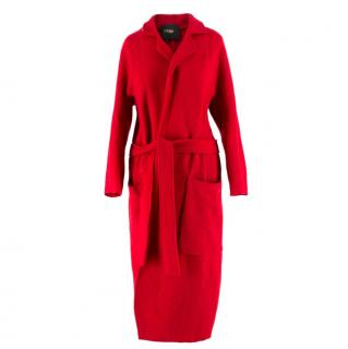 Maje Red Belted Wool Coat
