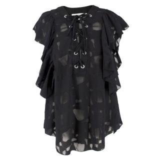 Iro Ruffled Lace-up Black Blouse