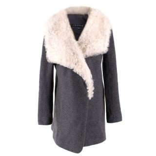 Theory Grey Cashmere & Wool Shearling Collar Jacket