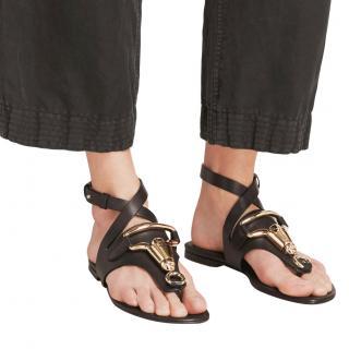Burberry black equestrian flat sandals