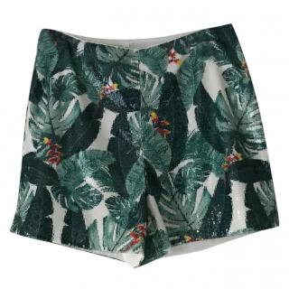 Rachel Zoe Palm Printed Sequin Shorts