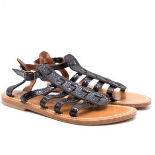 K.Jacques St Tropez Leather Snake Embossed Sandals