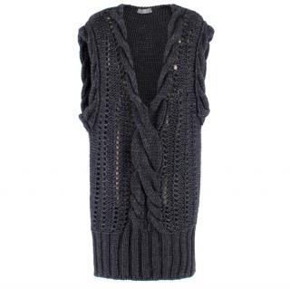 Alexander McQueen Grey Wool Open Knit Jumper Dress