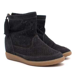 Isabel Marant Basley Perforated Suede Wedge Ankle Boot