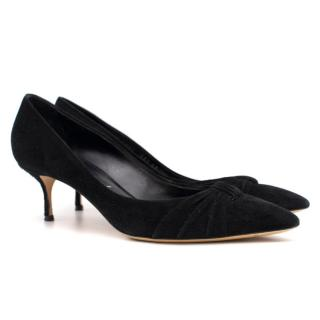 Casadei Black Suede Kitten Heel Pumps