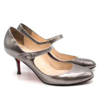 Christian Louboutin Silver Mary Jane Heels