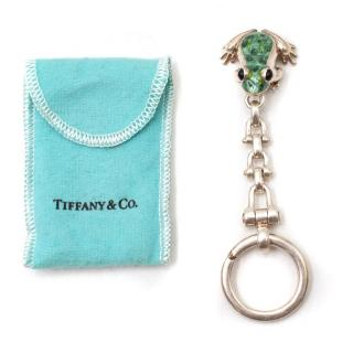 Tiffany & Co Sterling Silver & Enamel Frog Keychain