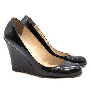 Christian Louboutin Black Patent Leather Wedges