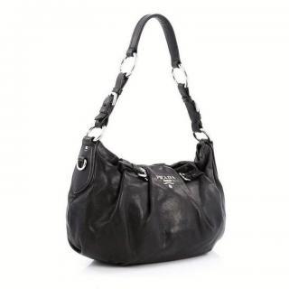 Prada Soft Calf Black Calfskin Leather Shoulder Bag