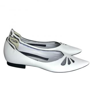 Sergio Rossi leather cut flats