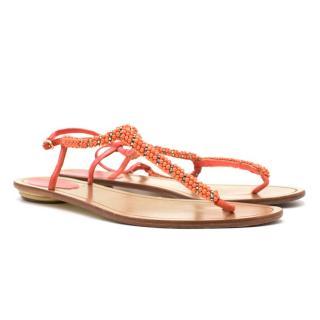 Rene Caovilla Coral Beaded Sandals
