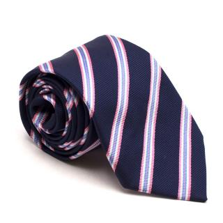 Pink Thomas Pink Navy Striped Silk Tie