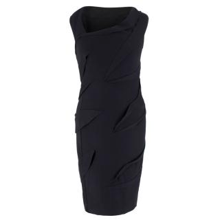Diane Von Furstenberg Black Wool Fitted Dress