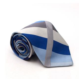 Duchamp Silk Blue and Grey Striped Tie