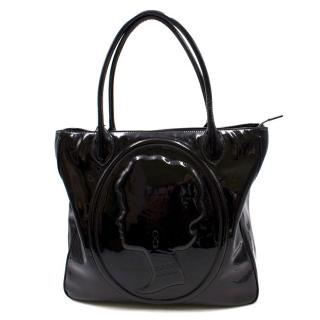 Lulu Guinness Black Patent Leather Tote Bag