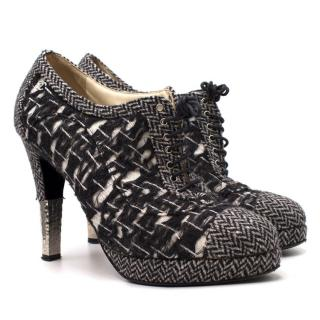 Chanel Tweed Lace Up Shoe Boots