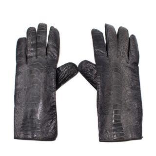 Burberry Black Leather Snake Effect Gloves