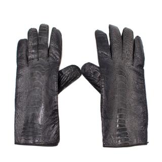 Burberry Black Leather Snake Effect Gloves