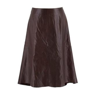 Chanel Vintage Brown Calfskin Leather Midi Skirt
