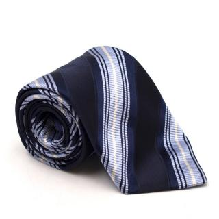 Canali Blue Striped Silk Tie
