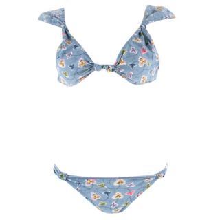 Christian Dior Knotted Blue Floral Print Bikini