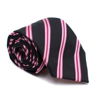 Thomas Pink Black Striped Silk Tie