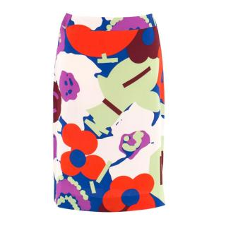 Chanel Printed Silk Midi Skirt