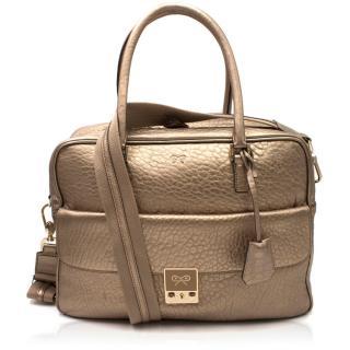 Anya Hindmarch Metallic Gold Boxy Top Handle Bag