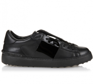 Valentino Black Low Top Patent Stripe Trainers