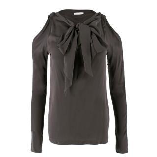 Chaiken Brown Silk Cold Shoulder Top