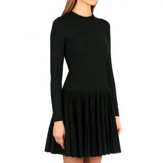 Alaia dark green knit skater dress