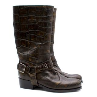 Dior Croc Embossed Brown Leather Harness Biker Boots