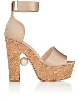 Nicholas Kirkwood Champagne satin ankle-strap sandals