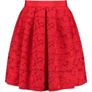 Sandro Paris Red Lace Embroidered Skirt