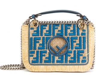 Fendi Blue Calfskin Leather & Embroidered Raffia Small Kan I F Bag