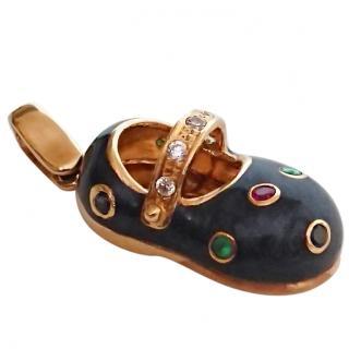 Bespoke Gold Enamel & Gemstone Shoe Charm