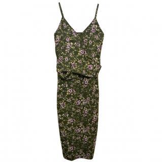 Rochas Green Floral Midi Dress