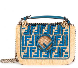 Fendi Blue Calfskin & Embroidered Raffia Small Kan I F Bag