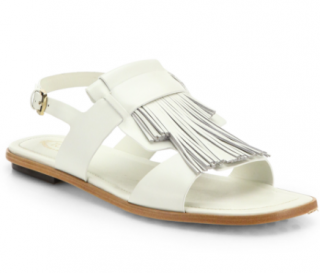 Tods white fringed leather sandals